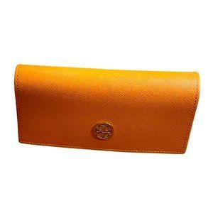 Like new Tory Burch orange gold glasses case
